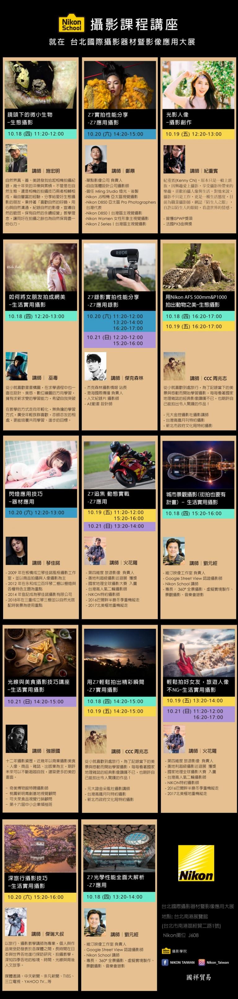 2018台北國際攝影器材展 Nikon School 攝影課程講座